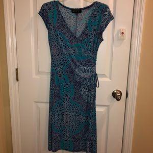 Jones New York Blue Print Dress Faux Wrap Style
